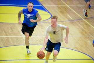 Nyc Basketball League player dribbling to the Hoop
