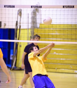 Volleyball clinic action
