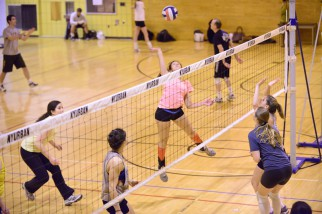 women's volleyball league action at Brandeis