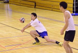 Man digging volleyball
