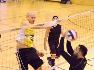 Player spiking volleyball