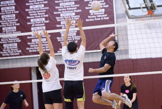 Volleyball Player suspended in air