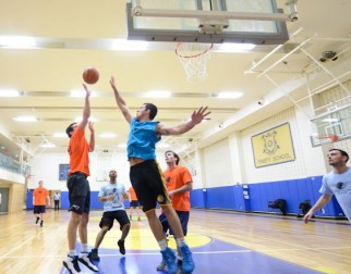 player about to block shot