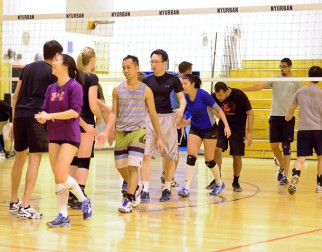 Volleyball players shake hands