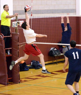 men's volleyball league action