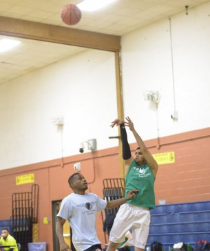 Player shoots from the outside.