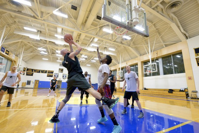 player dribbles to the hoop and shoots