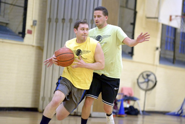 player dribbles to the hoop
